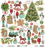 """Дизайнерски лист хартия с елементи за изрязване """"Merry & Bright"""", 30.5см, Mintay Papers"""