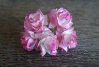 Пухкави рози, розово-бели, 30мм