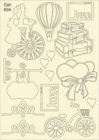 """Елементи от бирен картон """"Романтика"""", сет 634"""