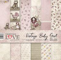 "Дизайнерски комплект хартии ""Винтидж бебе момиче"", 30см, Laserowe Love"