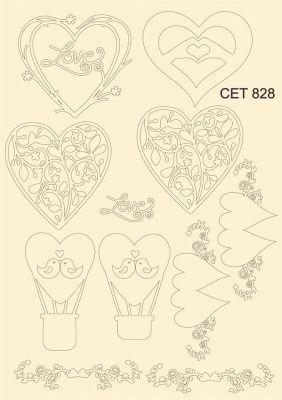 """Елементи от бирен картон """"Любов"""", сет 828"""