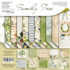 """Комплект дизайнерски хартии """"Family Tree"""", 20см, Scrapmir"""