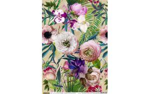 """Хартия за декупаж """"Тропически цветя и листа"""", А3, 25гр/м"""