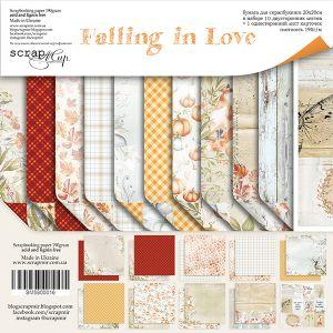 "Комплект дизайнерски хартии ""Falling in Love"", 20см, Scrapmir"