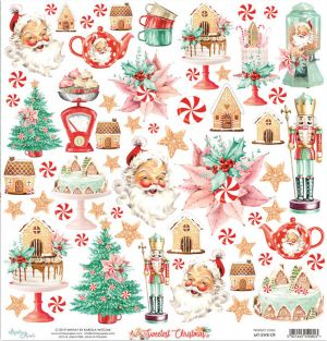 """Дизайнерски лист хартия с елементи за изрязване """"The Sweetest Christmas"""", 30.5см, Mintay Papers"""