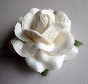 Бяла роза от мълбери хартия, 50 мм