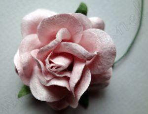 Розова роза от мълбери хартия, пастелен цвят, 50 мм