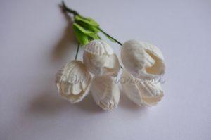 Бели лалета от мълбери хартия