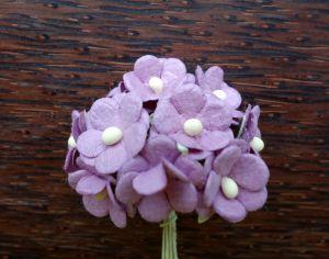 Цветенца от мълбери хартия,   лилави, 15мм