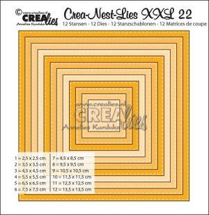 Комплект щанци за изрязване -  22 - квадратни форми с шев