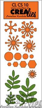 Комплект шаблони за рязане - клонки с листа, снежинки и др.