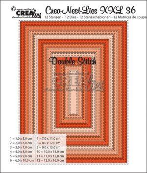 Комплект шаблони за изрязване -  36 -  правоъгълни с двоен шев