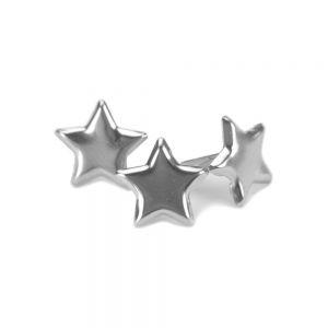 Метални брадсове - сребристи звезди, 50бр.