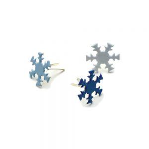Метални брадсове - снежинки, 3 цвята, 50бр.