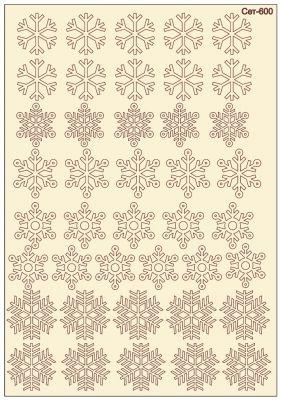 """Елементи от бирен картон """"5 вида снежинки"""", Сет 600"""