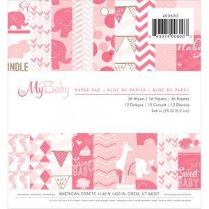 "Дизайнерско блокче хартии ""Моето бебе - момиче"", 15х15"