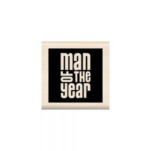 """Гумен печат с дървено блокче """"Мъж на годината"""""""
