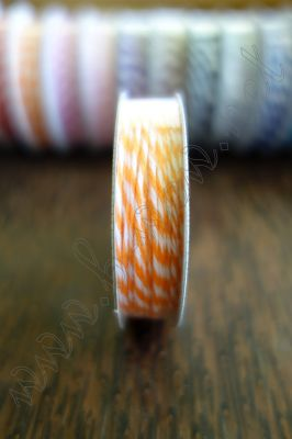 Ролка двуцветен шнур, оранжево и бяло, 4.6м