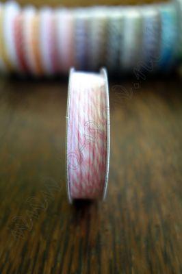 Ролка двуцветен шнур, розово и бяло, 4.6м