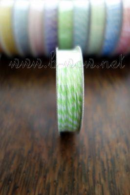 Ролка двуцветен шнур, лайм и бяло, 4.6м