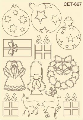 """Елементи от бирен картон """"Подаръци и коледна украса"""", сет 667"""