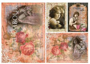 """Декупажна хартия """"Момичета и рози"""", DGE61, 30.5см х 45см"""
