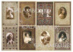 """Декупажна хартия """"Винтидж дамски портрети"""", DGE108, 35см х 50см"""