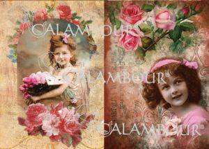 """Декупажна хартия """"Момичета и рози"""", DGE122, 33см х 49см"""