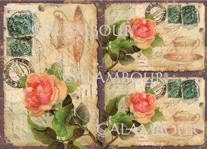 """Декупажна хартия """"Пощенски плик с рози"""", DGE123, 35см х 50см"""