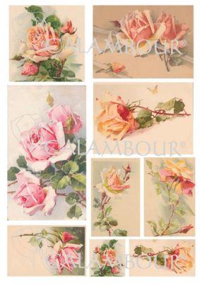 """Декупажна хартия """"Нежни рози"""", DGE151, 30.5см х 45см"""