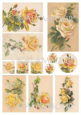 """Декупажна хартия """"Жълти рози"""", DGE153, 35см х 50см"""