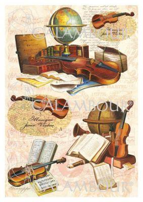 """Декупажна хартия """"Музика"""", DGE185, 35см х 50см"""