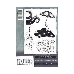 """Комплект гумени печати без подложка """"Дъждовно и ветровито"""", Crafter's Companion"""