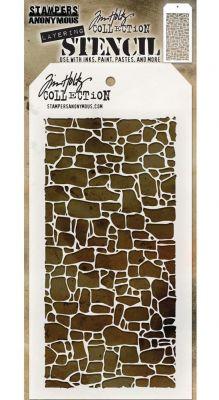 "Стенсил ""Каменен зид"", Tim Holtz"