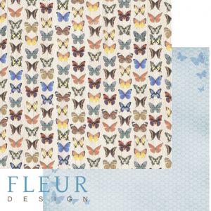"""Дизайнерски лист хартия """"Butterflies"""", 30.5см, """"Summer Garden"""", Fleur Design"""