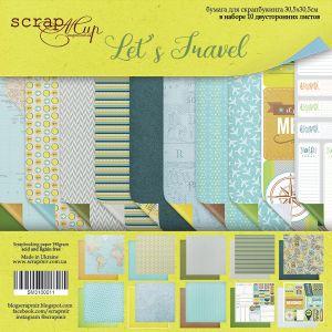 """Комплект дизайнерски хартии """"Let's Travel"""", 30.5см, Scrapmir"""
