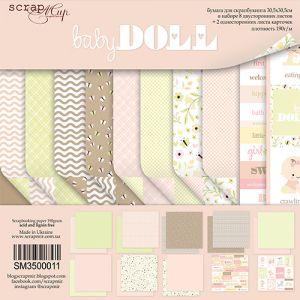 """Комплект дизайнерски хартии """"Doll Baby"""", 30.5см, Scrapmir"""