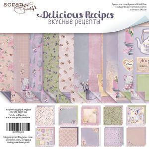 """Комплект дизайнерски хартии """"Delicious Recipes"""", 30.5см, Scrapmir"""