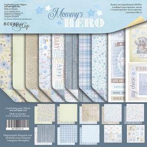 "Комплект дизайнерски хартии ""Mommy's Hero"", 20см, Scrapmir"