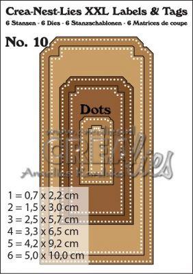 Комплект щанци за изрязване на тагове с точки - 10, Crealies