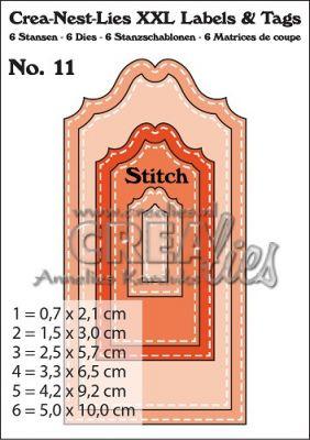 Комплект щанци за изрязване на тагове с шев - 11, Crealies