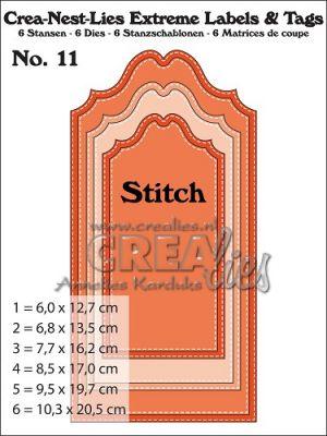 Комплект щанци за изрязване на големи тагове с шев - вариант 11, Crealies