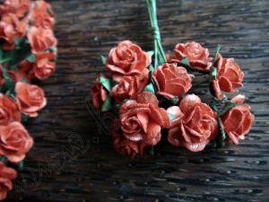 Червени рози от Мълбери хартия, 15 мм.