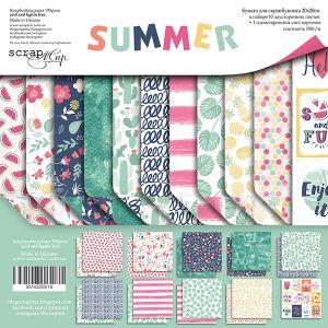 """Комплект дизайнерски хартии """"Summer"""", 20см, Scrapmir"""