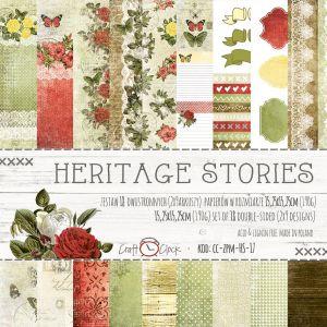 "Дизайнерски комплект хартии ""Heritage Stories"", 15см, Craft o'Clock"