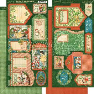 """Дизайнерски тагове и джобчета """"Коледна магия"""", Graphic 45"""