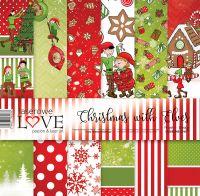 "Дизайнерски комплект хартии ""Коледа с елфи"", 30см, Laserowe Love"