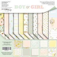 """Комплект дизайнерски хартии """"Boy or Girl"""", 30см, Scrapmir"""