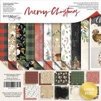 """Комплект дизайнерски хартии """"Merry Christmas"""", 30см, Scrapmir"""