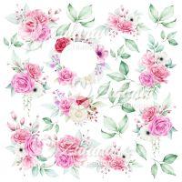 "Дизайнерски комплект хартии ""Градина с рози"", 30.5см, Zulana Creation"
